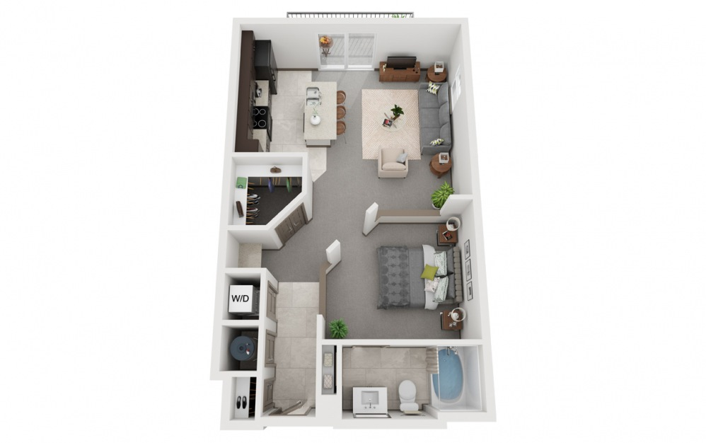 L2 - Attico 2 - Studio floorplan layout with 1 bath and 698 square feet.