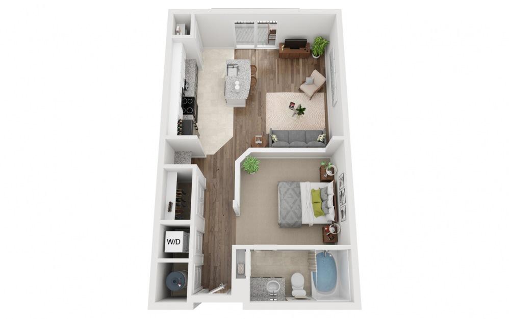 LWC - Attico - Studio floorplan layout with 1 bath and 676 square feet.