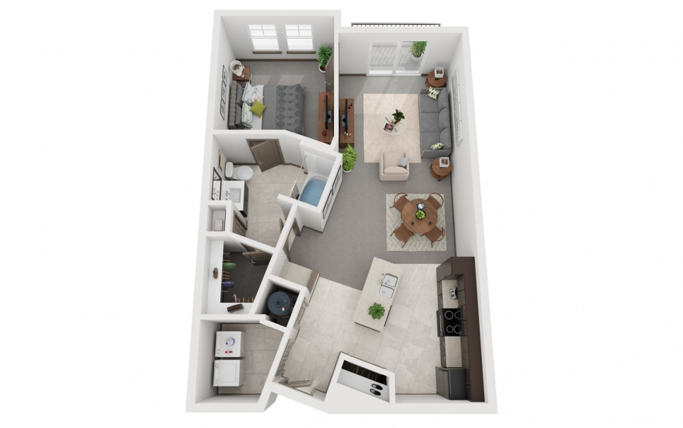 L2 - Estilo 2 - 1 bedroom floorplan layout with 1 bath and 835 square feet.