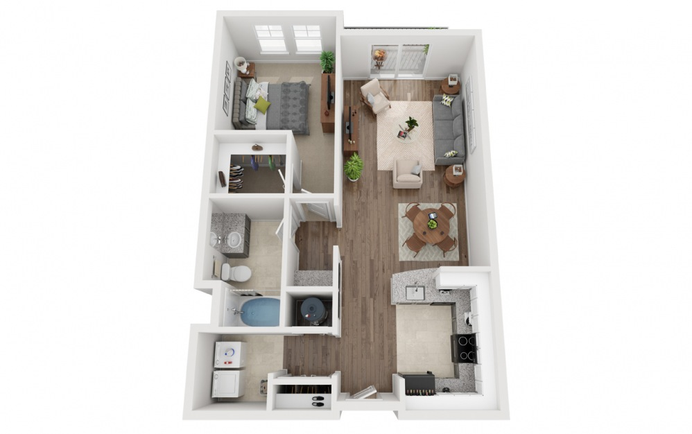 LWC - Estilo - 1 bedroom floorplan layout with 1 bath and 841 square feet.