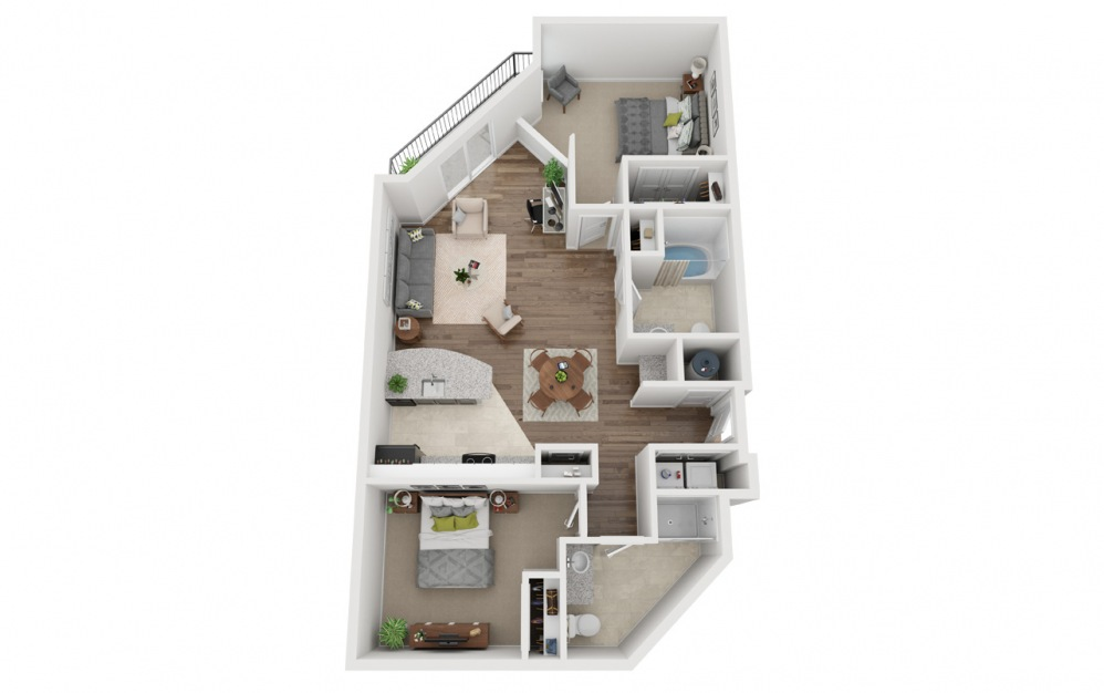 LWC - Freistatte - 2 bedroom floorplan layout with 2 baths and 1062 square feet.
