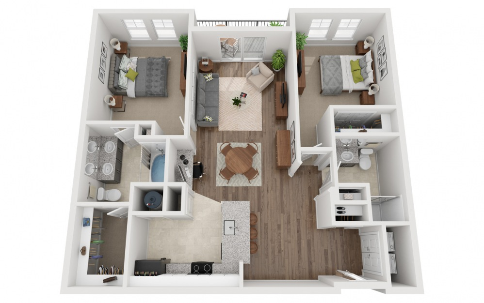 LWC - Oase - 2 bedroom floorplan layout with 2 baths and 1238 square feet.