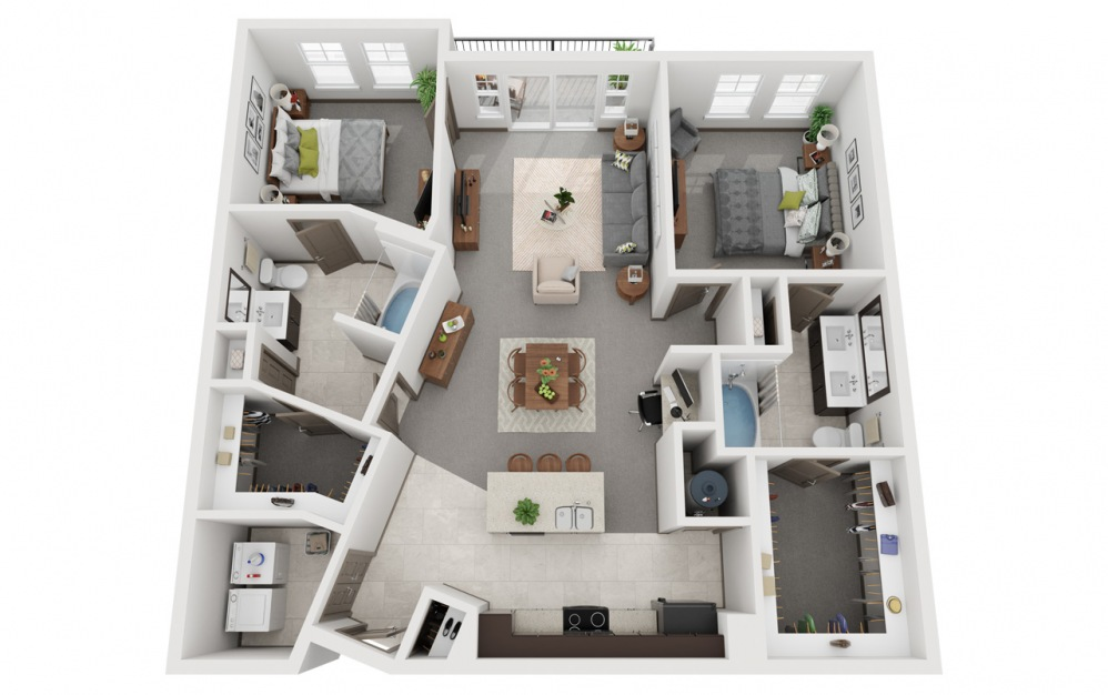 L2 - Oase 2 - 2 bedroom floorplan layout with 2 baths and 1232 square feet.