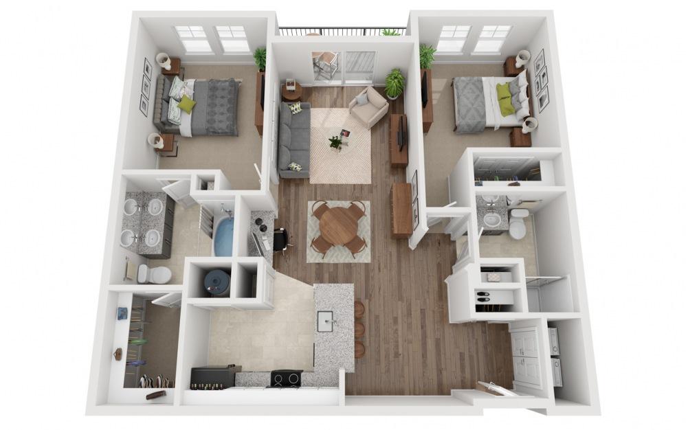 LWC - Rifugio - 2 bedroom floorplan layout with 2 baths and 1175 square feet.