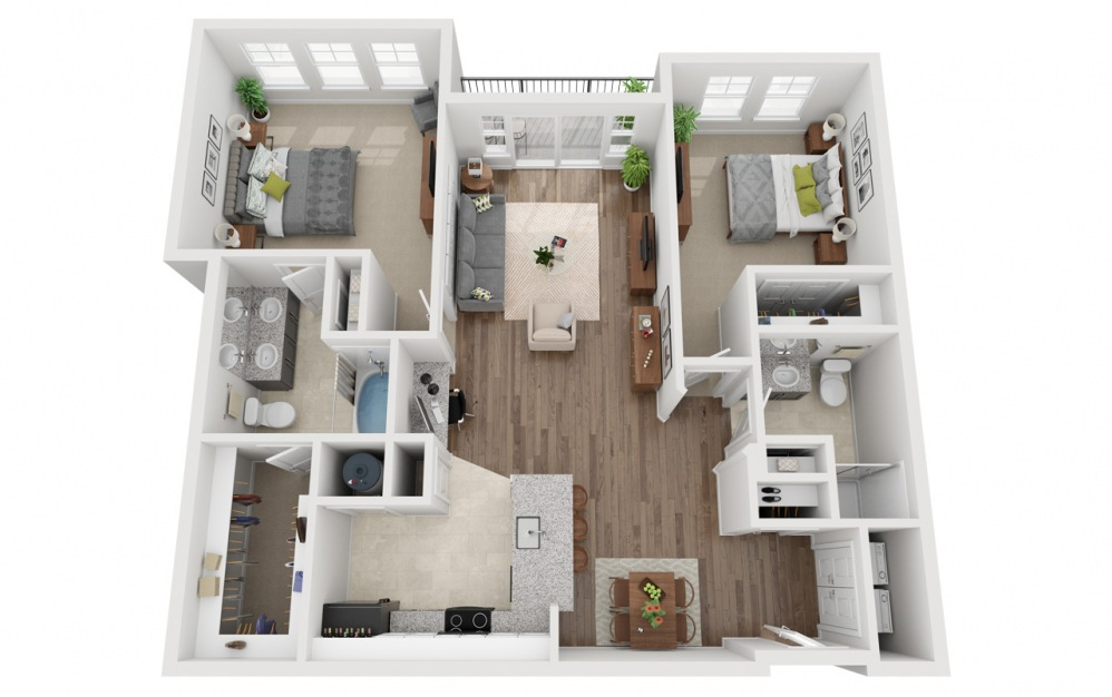 LWC - Rofuto - 2 bedroom floorplan layout with 2 baths and 1242 square feet.