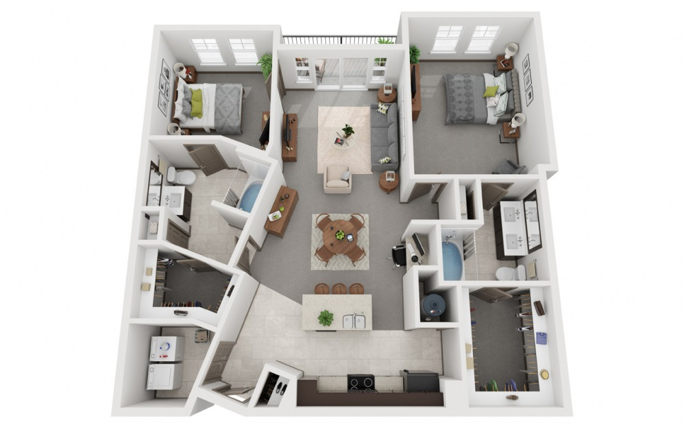 L2 - Rofuto 2 - 2 bedroom floorplan layout with 2 baths and 1266 square feet.