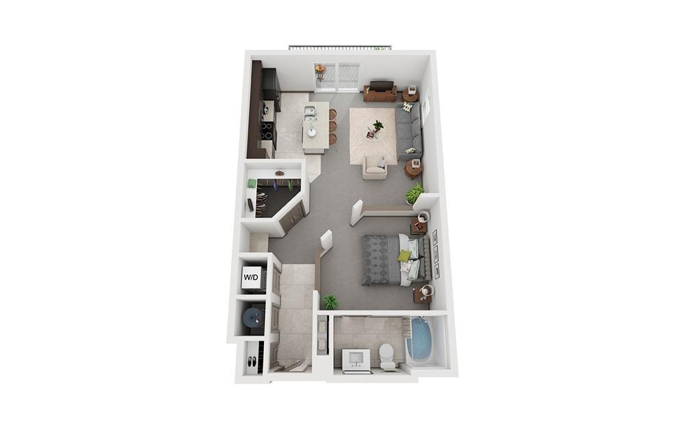 L2 - Attico 2 - Studio floorplan layout with 1 bath and 698 square feet.