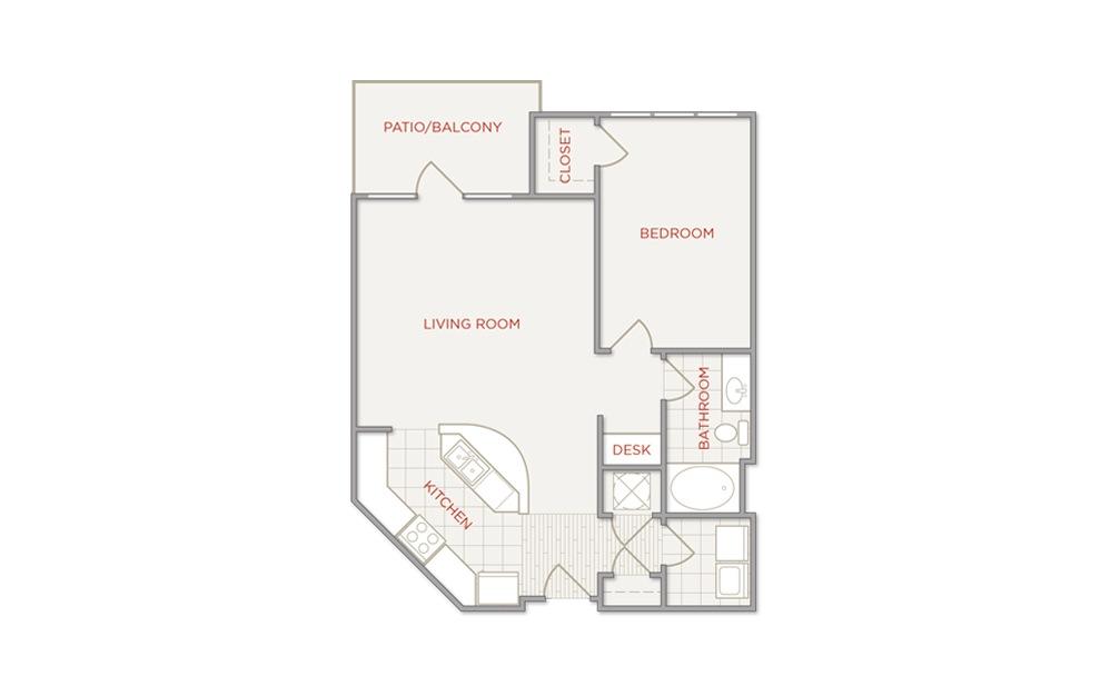 LWC - Aventura - 1 bedroom floorplan layout with 1 bath and 812 square feet.