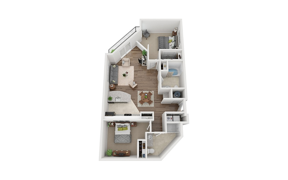 LWC - Freisatte - 2 bedroom floorplan layout with 2 baths and 1062 square feet.
