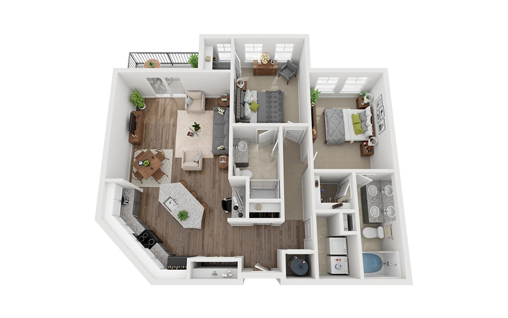 LWC - Pajar - 2 bedroom floorplan layout with 2 baths and 1125 square feet.