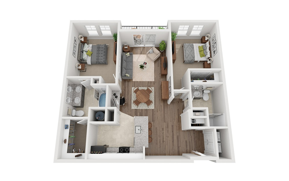 LWC - Rifugio - 2 bedroom floorplan layout with 2 baths and 1175 square feet.