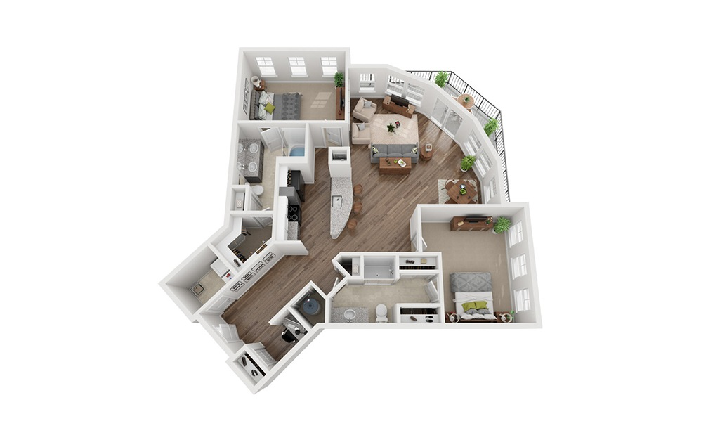 LWC - Sostanza - 2 bedroom floorplan layout with 2 baths and 1374 square feet.