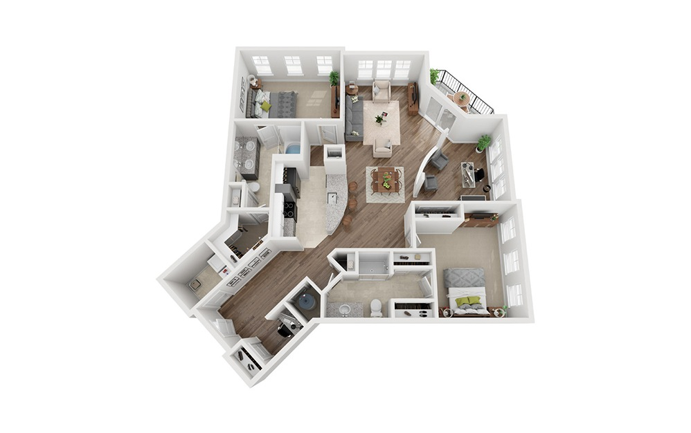 LWC - Unico - 2 bedroom floorplan layout with 2 baths and 1443 square feet.
